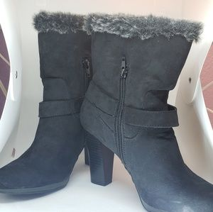 DANA BUCHMAN Black Lined High Heel Ankle Boots